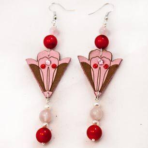 Petal Earrings  #leather #lasercut #swarovski #corals #agate