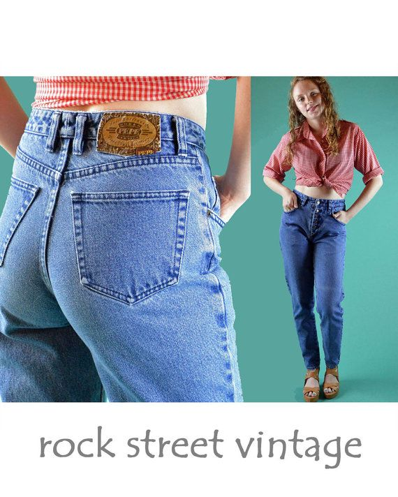 Vintage 80s High Waist Jeans / Distressed & by rockstreetvintage