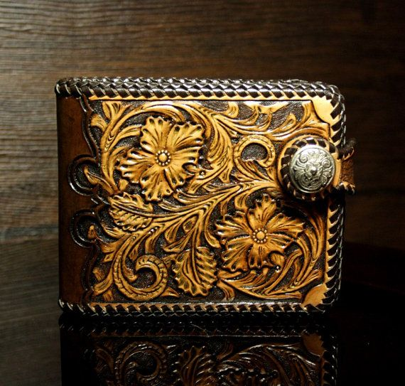 Hand-tooled <b>leather mens wallet</b> with floral sheridan pattern, <b>leather</b> ...