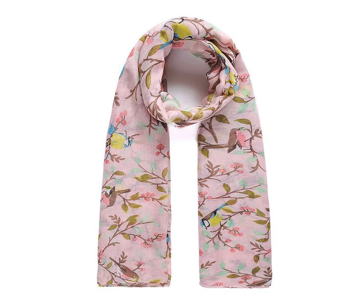 Pink flower and bird print scarf