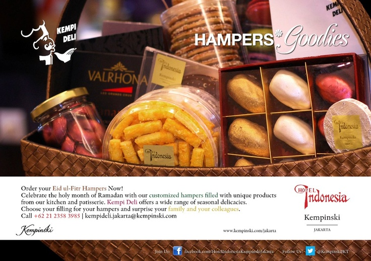 Kempi Deli : Special Customized Hampers || Surprise your family and colleagues with our customized hampers filled with amazing delicacies from Kempi Deli.    For more information please contact:  +62 21 2358 3985 or email: kempideli.jakarta@kempinski.com