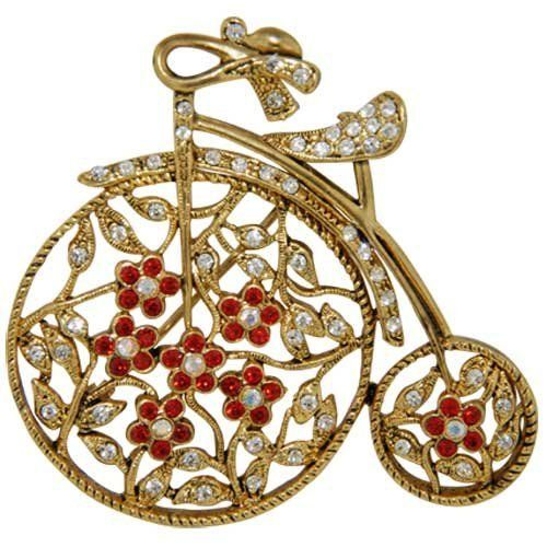 Pugster 22k Golden Plated Wheel Bicycle With Clear And Light Red Swarovski Crystal Diamond Accent Brooch Pin Pugster. $11.68. Money-back Satisfaction Guarantee.. Exquisitely detailed designer style with Swarovski cystal element.. Can be pinned on your gown or fastened in your hair with bobby pins.. Occasion: casual wear,anniversary, bridal, cocktail party, wedding. One free elegant cushioned Gift box available with every order from Pugster.