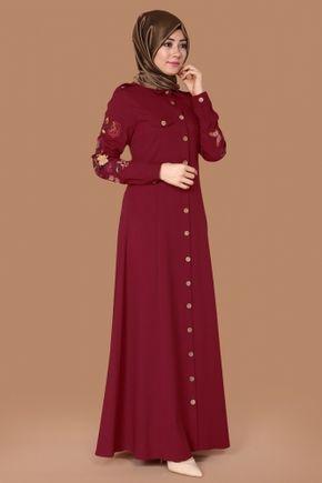 M.D.H - Şahika Kolları Nakışlı Elbise Tunik MDH6371 Bordo (1)