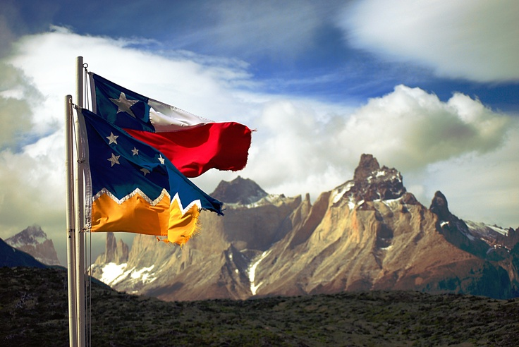 Chilean flags in Torres del Paine