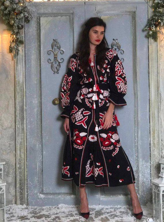 1c6c8e826e4b Ukrainian vyshyvanka dress embroidered abaya Vishivanka Black linen evening  robe Ukraine boho dresse