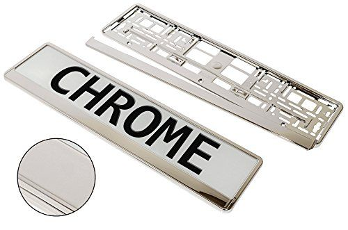 From 8.77 A Pair!!! 2 X Superb Quality & Chrome Appearance Car Registration License Number Plate Universal Surrounds Holders Frames - Bargain !!!