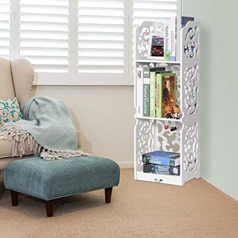 Finether weiß Regal Stehregal StandregalSteckregal Schuhregal Bücherregal für Wohnzimmer Badezimmer Aufbewahrungsregal aus WPC wasserdicht 3 Böd…