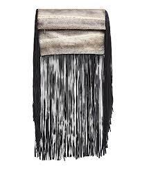 Sam Ubhi - Full Fringed Clutch Bag -Gold Snake Bag with Black Fringe