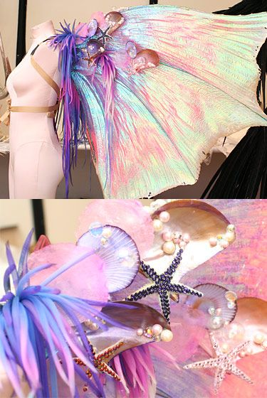 "Behind the Scenes: Victoria's Secret Fashion Show    ""We used laminated cellophane and monofilament to create this veiny texture. The inspiration behind this set of wings was fish — they sent me all these images of beautiful goldfish and fighting fish to work from. This is fabric that has been dyed and heat-cut to look like sea anemone."" — Armando Farfan Jr."