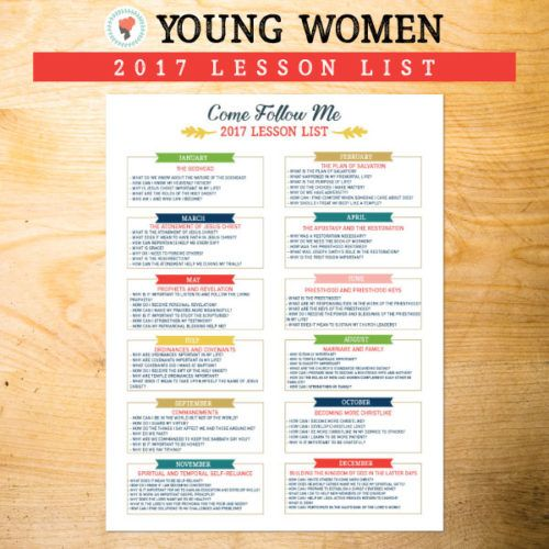 2017 Young Women Lesson List - Come Follow Me Curriculum
