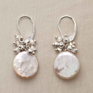 """Shiny sterling silver nuggets rain starlight down on cultured coin pearls. Handmade in USA with sterling silver lever backs. Exclusive. 1-1/4""""L."""