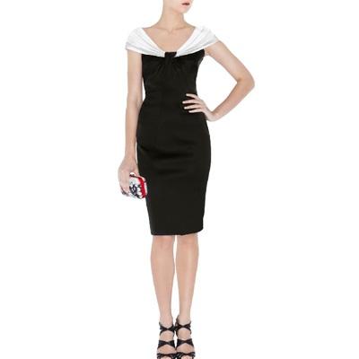 Karen Millen Satin Dress White and Black