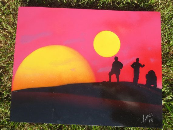 Star wars tatooine spray paint art. awesome Etsy listing at https://www.etsy.com/listing/194252211/star-wars-tatooine-fantasy-spray-paint