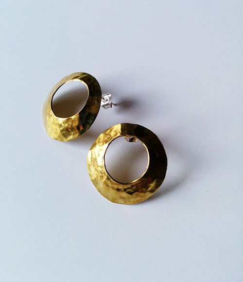 Barnacle - Hand crafted hammered brass earrings with silver studs by Riot Shapes