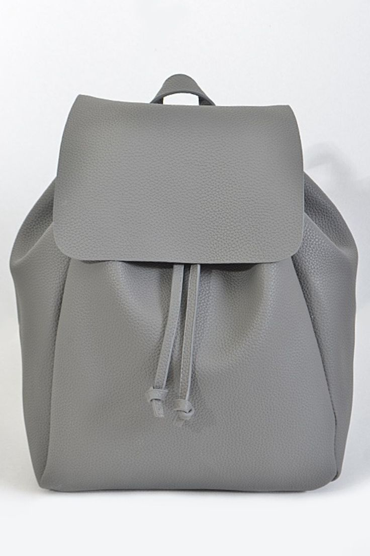 Simple And Classic Faux Leather Backpack With Adjule Straps In Back Drawstring Flap Closure