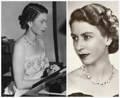 'The South African Diamonds' - originally set in a long necklace, was shortened in 1952. Queen Elizabeth shortened the necklace from 21 to 15 large diamonds and created a bracelet with the remainders. To the bracelet, she added another treasure from the 1947 tour: a 6 carat diamond given to her by De Beers.