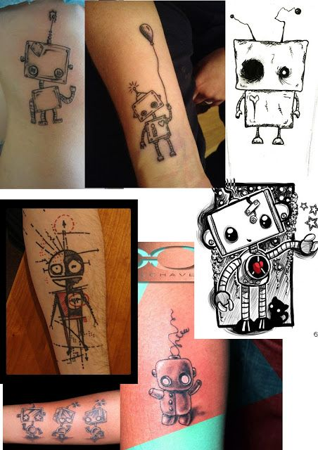 Nice Day Designs: My New Robot Tattoo