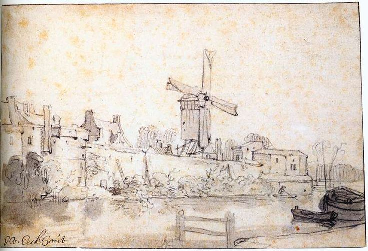 Gerbrand van den Eeckhout, The City Walls of Delft with the Mill Called The Rose, 1640-45