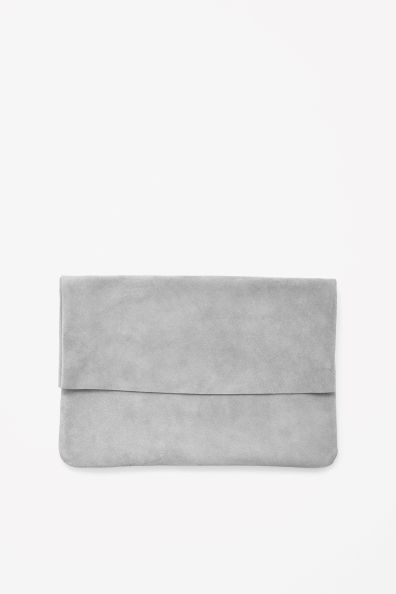 Grey Suede Clutch - minimal bag, chic minimalist style // COS
