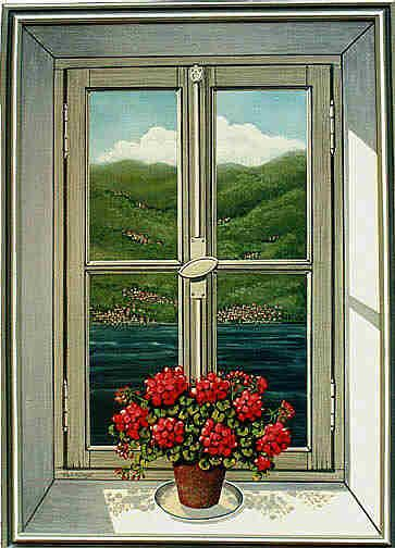 Trompe L'Oeil Windows and Niches | life size trompe l oeil window painted on canvass