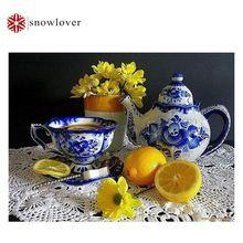 Lemon tea pot цветы алмазный крест живопись стежка ful 5D алмаз вышивка свадебные украшения площади хэллоуин рождественский подарок(China (Mainland))