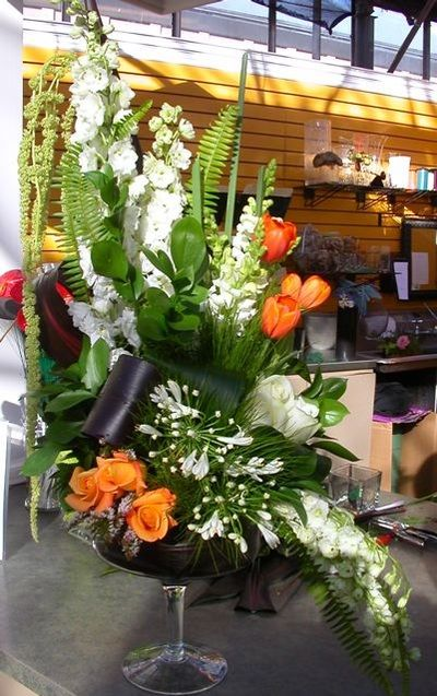 Floral Arrangment- Orange, Green and White <3