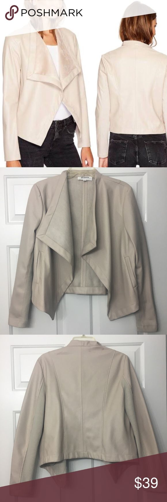 BB Dakota Ivory Peppin Faux Leather Jacket Faux vegan leather. Very soft. Color true to pictured on door. Worn once. NOTE red marks pictured, from hanging next to a red faux leather jacket in the closet. Have not tried cleaning. Price reflects flaws. BB Dakota Jackets & Coats