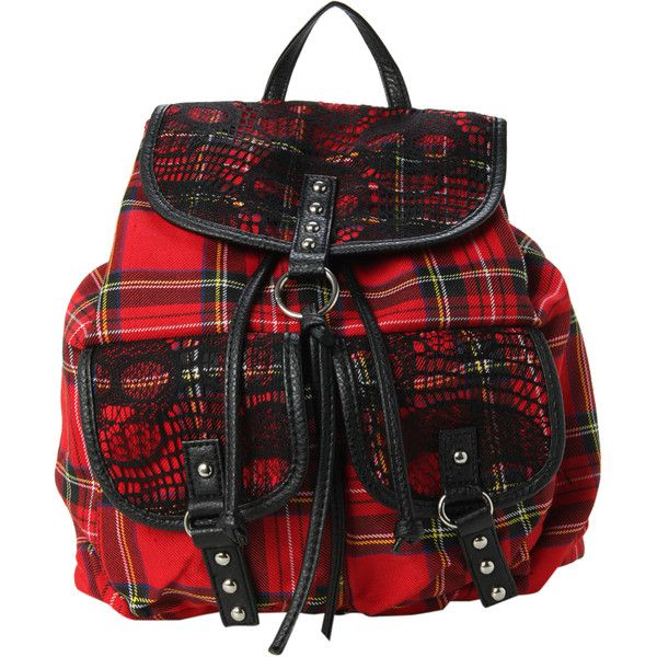 Tartan Plaid Skull Slouch Backpack | Hot Topic ($35) ❤ liked on Polyvore featuring bags, backpacks, accessories, black lace backpack, slouch backpack, lace bag, black rucksack and slouchy backpack