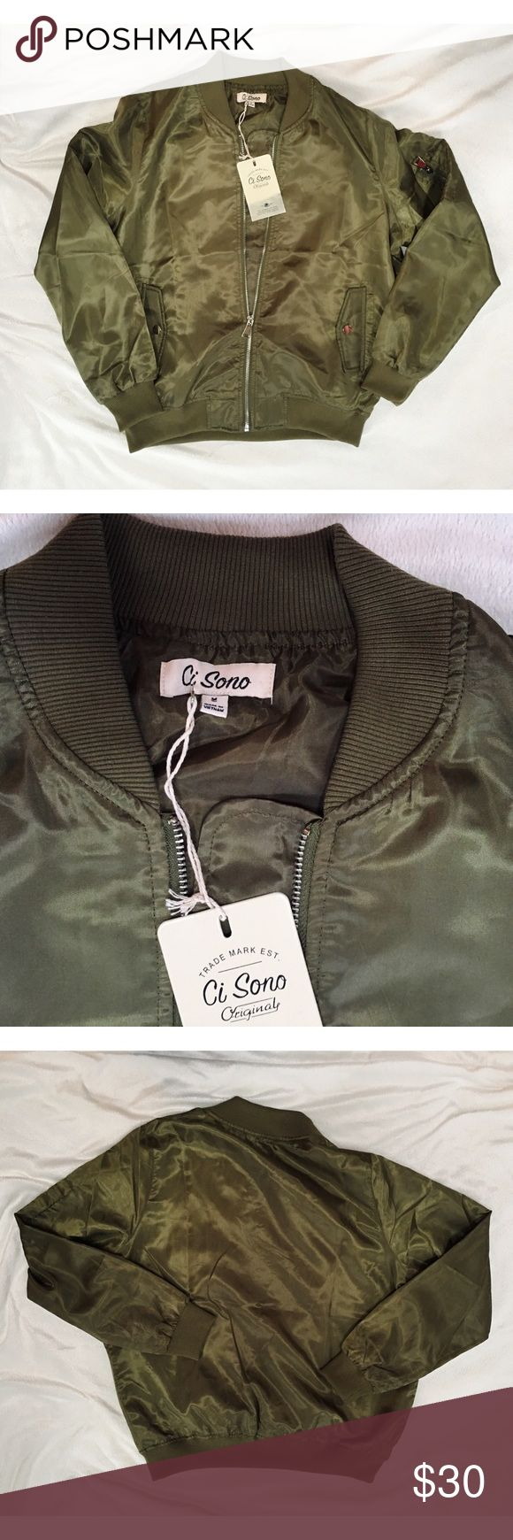 NWT Ci Sono nylon bomber jacket Olive green bomber jacket. Gorgeous and fashionable. Make me an offer xx ci sono Jackets & Coats