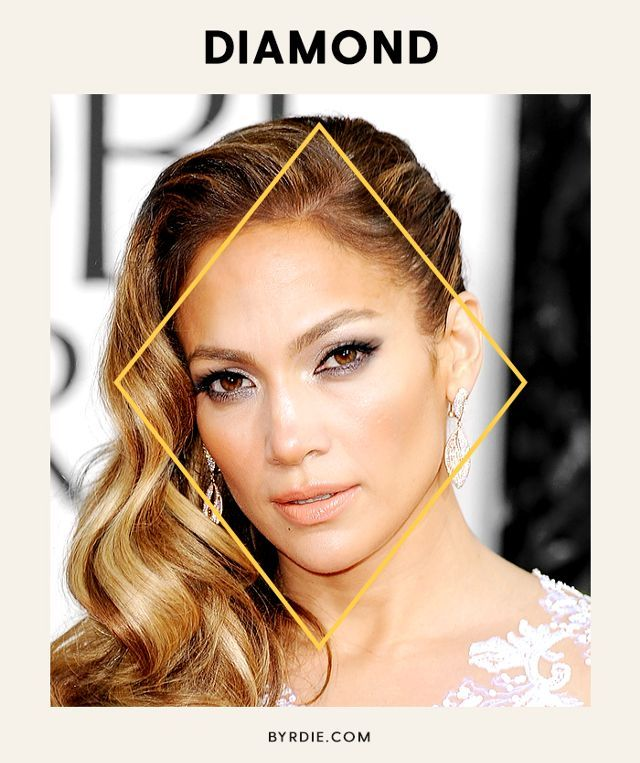 If someone drew lines connecting the center of your hairline to your cheekbones and down to your chin, it would create a diamond shape—hence, the name. Diamond-faced women have pointed chins...