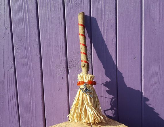 Witch Besom Carnelian Beads Miniature Broomstick Altar