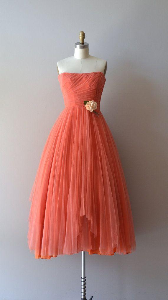 Ceil Chapman dress / coral 1950s dress / vintage 50s by DearGolden ~ amazing Etsy shop!!!!!