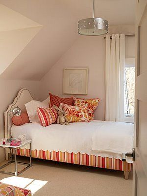 "Such a classic, yet functional girls bedroom that softly says ""sophisticated"". Sarah Richardson's designs are exceptional; she excels with her choices of bold striped, floral print fabrics. Stacked colorful ottomans add to the bedroom decor and also make excellent storage. Tweet You Might Also Like Girls Bedroom – Raspberry Color Gray and Yellow Teen/Tween Room ...continue reading"
