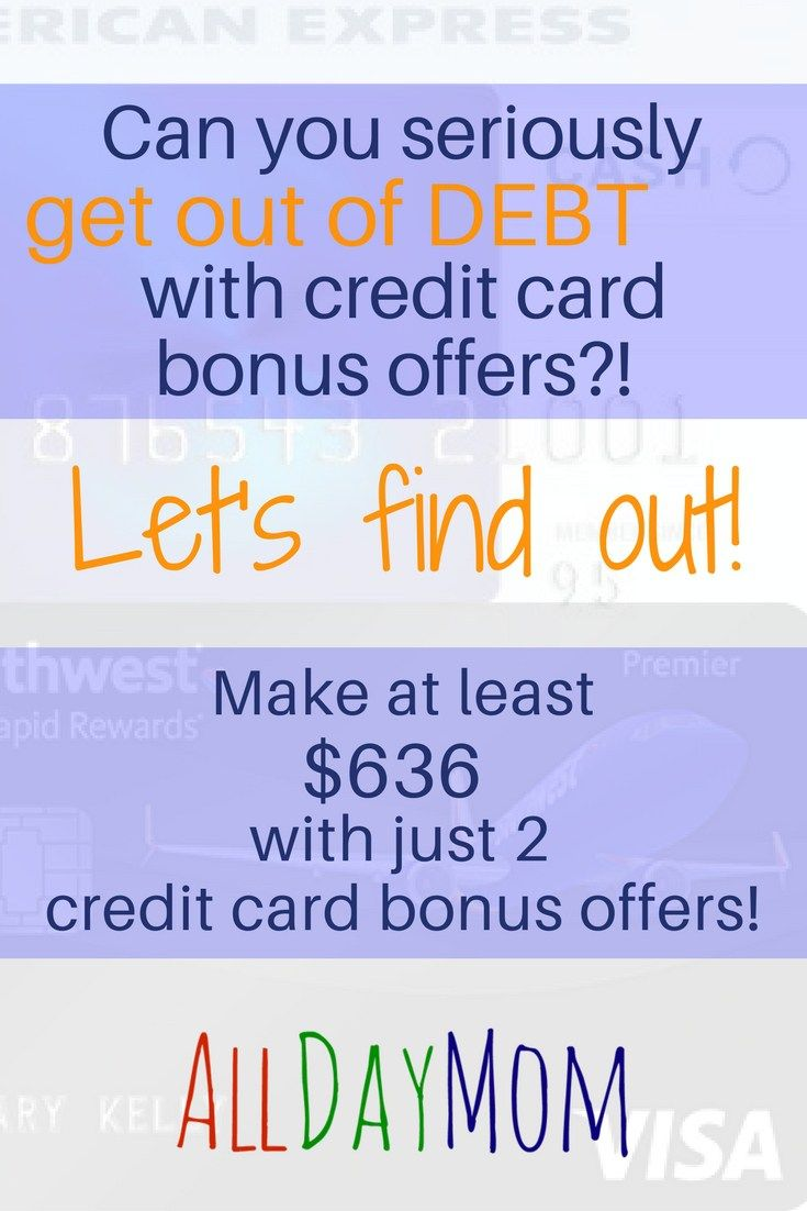 Can you get out of debt with credit card bonus offers? - How to use credit card bonuses to get out of debt - make more than $600 with just 2 credit card bonus deals - You'll earn a minimum of $616 net cash back after the annual fees! Amex Blue Cash Preferred $250 referral bonus and Southwest Visa 50,000 points! referral bonus