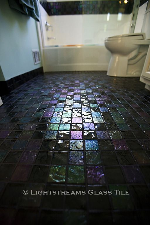 - Lightstreams Glass Bathroom Floor Tile | Dark Silver Grey Black