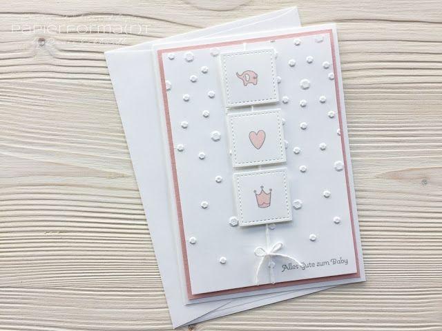 Papierforma(r)t: Babykarte in Flüsterweiß und Puderrosa, Kurz gefasst, Pailetten