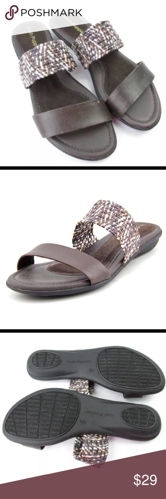 Hush puppies Brown Slip On Sandals Hush Puppies Brown Slip On Sandals. Size 8. In very good condition. Worn 2 times. These are very comfortable but unfortunately they are slightly to big for me. They do run true to size (my opinion) Hush Puppies Shoes Sandals