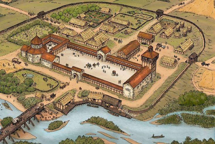 Représentation possible du palais de Ponthion- 23) CHARLES III LE GROS .2. Destin impérial d'un prince carolingien et déchéance: En 885, Charles reçoit le serment d'allégeance des grands vassaux du royaume de France au PALAIS DE PONTHION. En prenant cette tutelle, le royaume des Francs ou l'empire de Charlemagne est quasiment reconstitué, à l'exception de la Provence, de la Bourgogne transjurane qui ont fait sécession et de la Bretagne qui a toujours été une marche difficilement contrôlable.