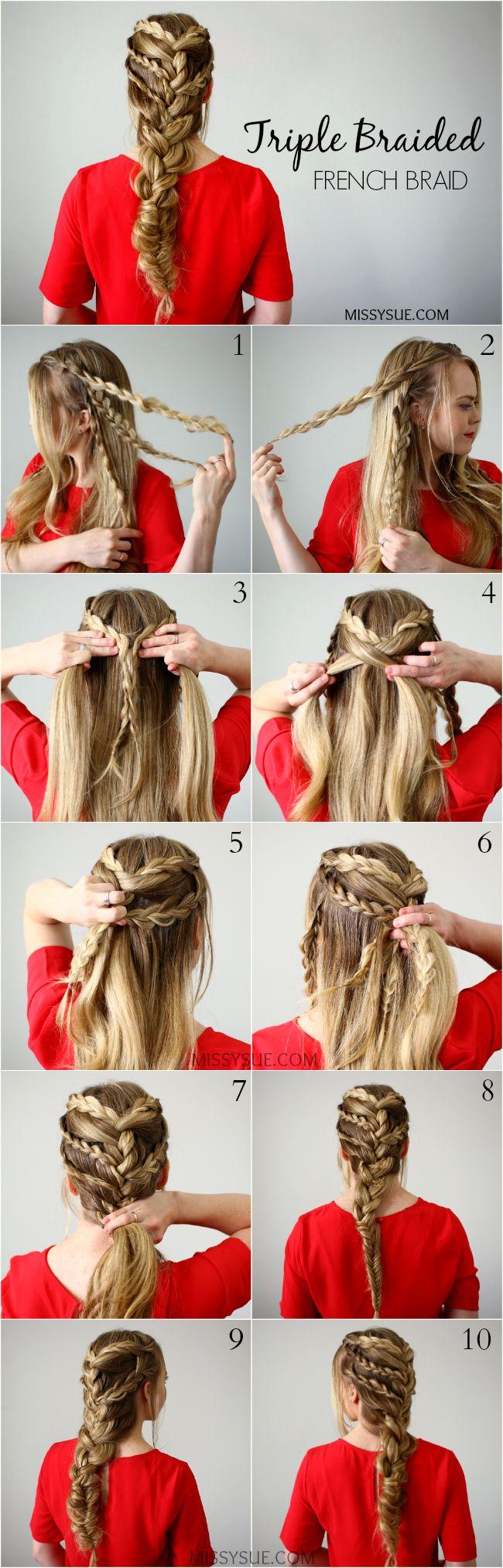 Triple-braided-french-braid