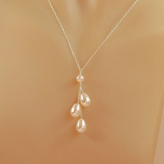 Pearl Wedding Necklace for Brides, Bridesmaids, Swarovski Pearl Necklace in Sterling Silver - The Pearl Drops Necklace: