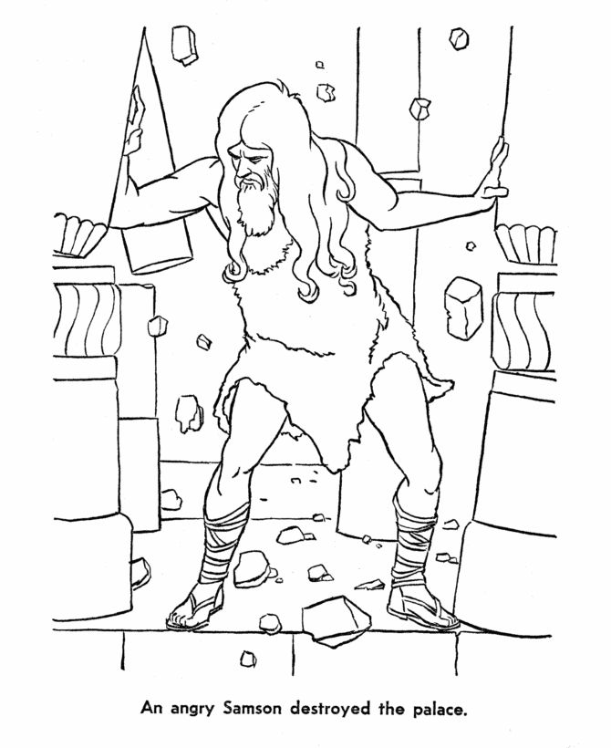 samson restored coloring page preschool sunday schoolschool