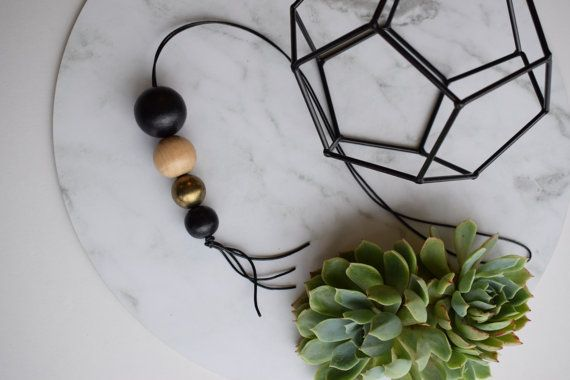 Modern leather tassel drop wooden bead necklace by TomTomDesignsNZ