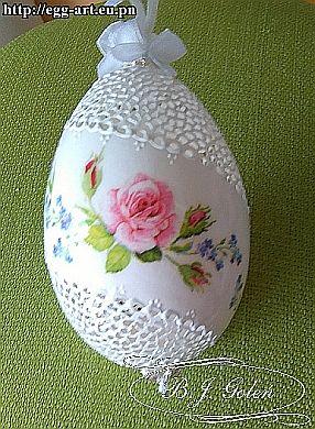 koronkowe pisanki - wydmuszka gęsia ażurowa - BJGoleń - european egg art