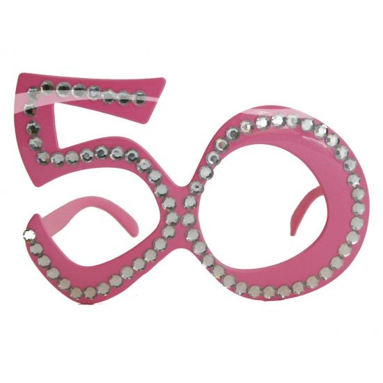 50 jarige feest bril. In de kleur roze met diamanten erop.