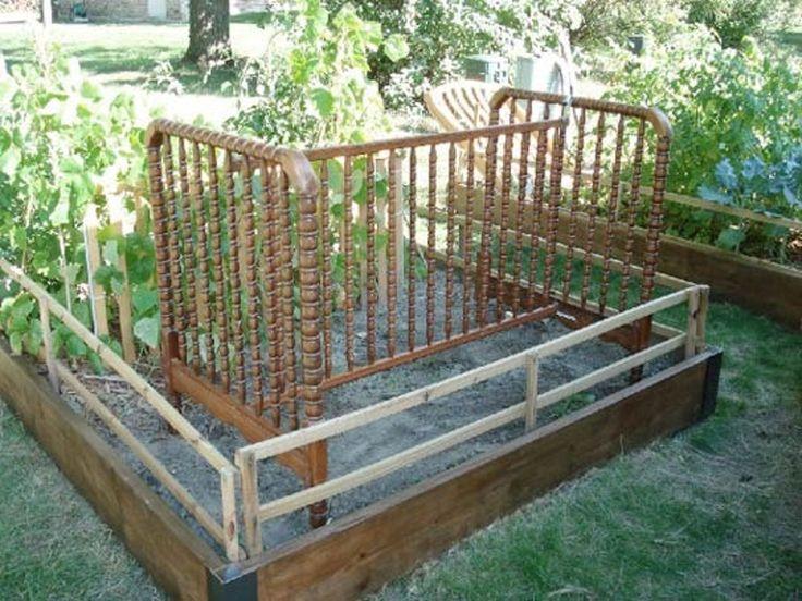 Reusing Cribs and Baby Gates as Garden Trellises