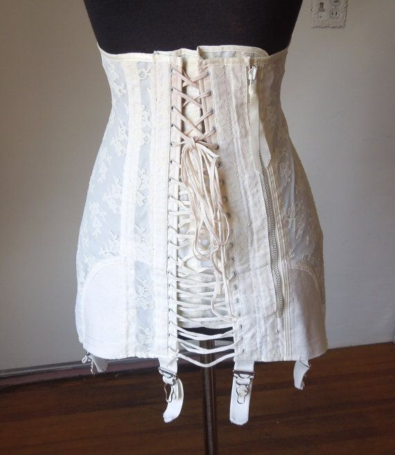 Reserved Vintage Corset Girdle With Garter Clips Lace