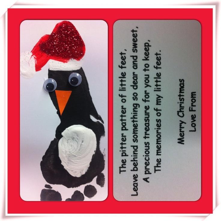 Footprint penguin christmas cards christmas pinterest for Penguin christmas cards homemade