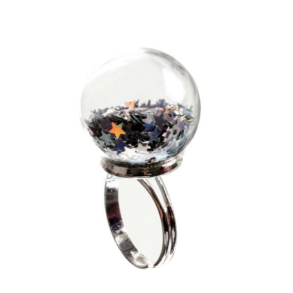 Tausend Sterne Ring - Glaskugel gefüllt mit kleinen Glittersternen. Alle Materialien von Glücksfieber.