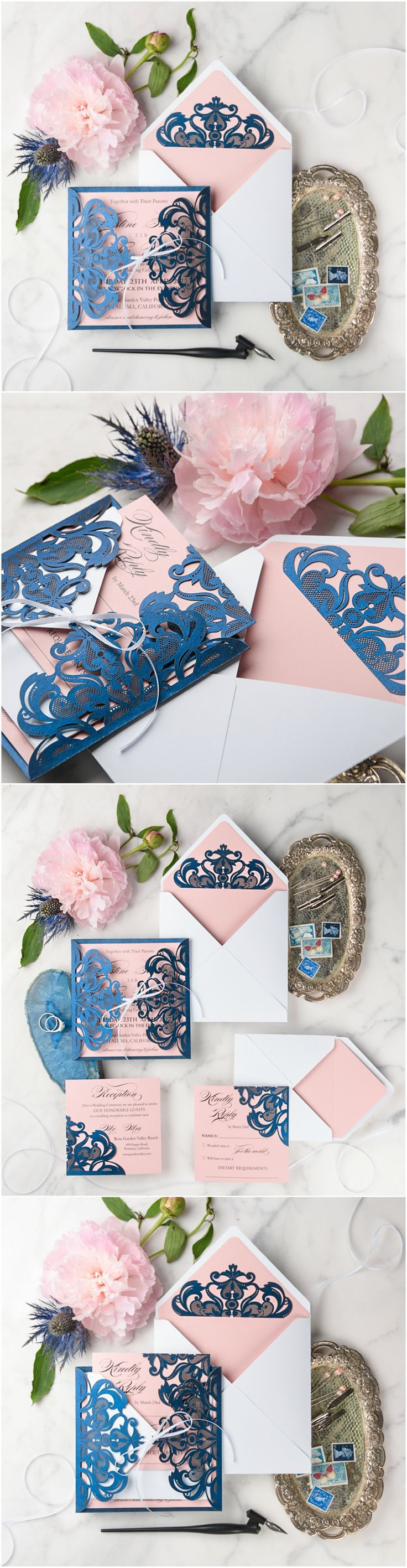 Navy, Pink & White Laser cut lace Wedding Invitations - elegant and romantic #lace #romantic #elegant #weddingstationery #weddinginvites #weddingideas
