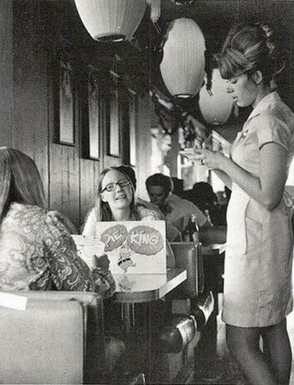 Young teens at the Pie King Diner, early 1960s.....love the waitress' hair!